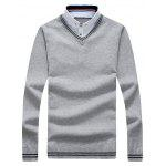 Button Down Panel Faux Twinset Polo Sweater - GRAY