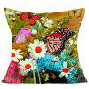 Flowers and Butterfly Pattern Decorative Pillow Case - COLORFUL