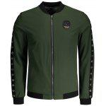 Metal Ring Badge Men Jacket - VERDE