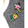 Flower Embroidered Knitted Cami Top - GRAY
