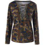 Camouflage Lace Up T-shirt - ACU CAMOUFLAGE