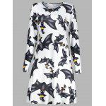 Halloween Bat Print A Line Tunic Dress - WHITE