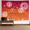 Snowy Christmas Print Tapestry Wall Hanging Decoration - RED