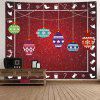 Wall Hanging Art Snowy Christmas Bauble Print Tapestry - VERMELHO ESCURO
