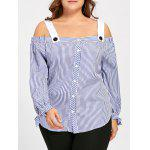 Tamanho Plus Bowtie Stripe Off The Shoulder Blouse - AZUL