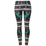 Reindeer Snowflake Leggings - BLACK