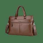 Top Handle PU Leather Handbag - KHAKI
