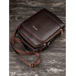 Embossed Zip PU Leather Crossbody Bag - BROWN