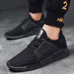 Buy Round Toe Running Breathable Mesh Sneakers 44 BLACK