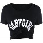 Baby Girl Cropped T-shirt - BLACK