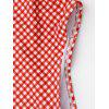 One Piece Checked High Cut Swimwear - RED AND WHITE
