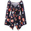 Halloween Plus Size Pumpkin Print Empire Waist T-shirt - SIYAH