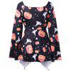 Halloween Plus Size Pumpkin Print Empire Waist T-shirt - BLACK