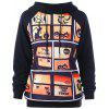 Halloween Graphic Printed Drawstring Hoodie - BLACK
