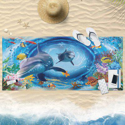 3D Dolphin Print Water Absorption Bath Towel
