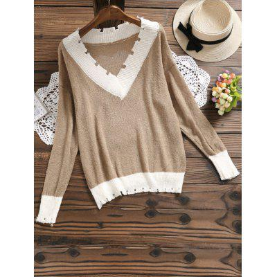 Contrast V Neck Knitted Top