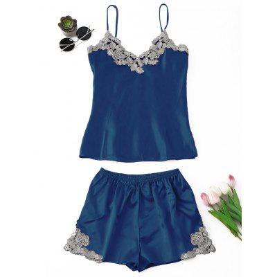 Buy BLUE XL Satin Applique Pajama Set for $21.81 in GearBest store