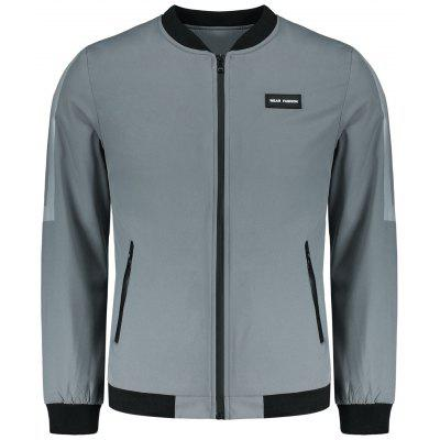Buy GRAY 4XL Zipper Pocket Patch Design Mens Jacket for $33.01 in GearBest store