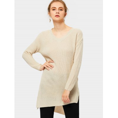 Buy APRICOT M Side Slit V Neck Asymmetrical Sweater for $25.63 in GearBest store