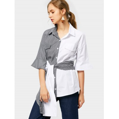 Contrast Striped Belted Shirt