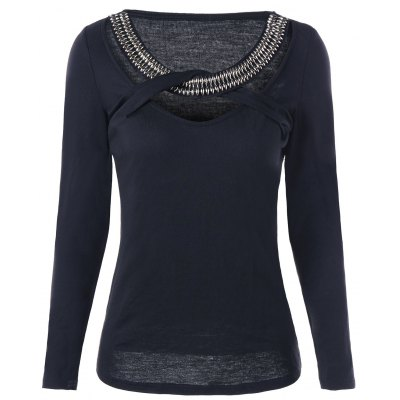 Beaded Embellished Criss Cross Cut Out Top