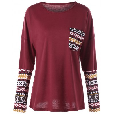 Buy DEEP RED XL Skull Halloween Pocket Long Sleeve Top for $15.34 in GearBest store