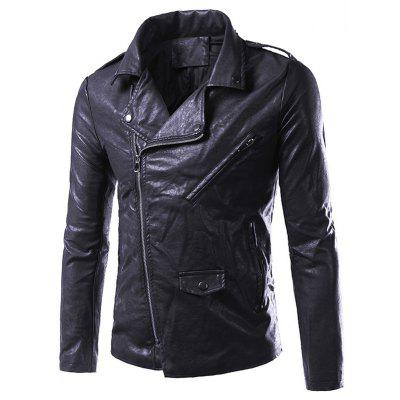 Buy BLACK 2XL Asymmetrical Zip Up Faux Leather Biker Jacket for $64.40 in GearBest store