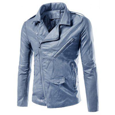 Buy BLUE GRAY 4XL Asymmetrical Zip Up Faux Leather Biker Jacket for $64.40 in GearBest store