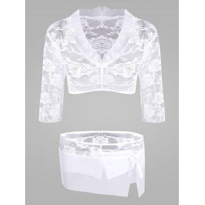 Lace Sheer Crop Top com saia