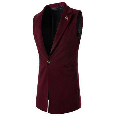 Floral Brooch One Button Waistcoat