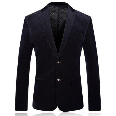 Lapel Single Breasted Shoulder Pad Corduroy Blazer