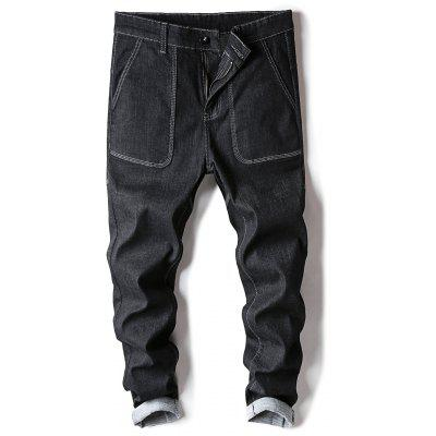 Buy BLACK 34 Zipper Fly Low Slung Crotch Harem Jeans for $31.78 in GearBest store