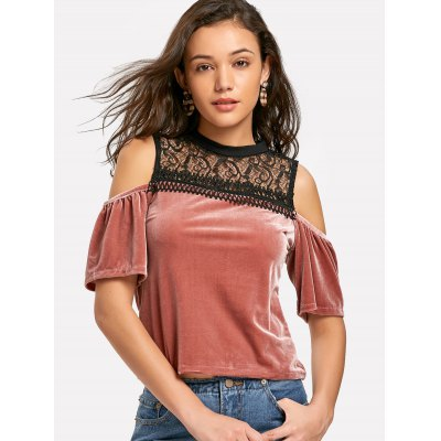 Buy RUSSET-RED M Cold Shoulder Lace Panel Velvet Top for $22.90 in GearBest store