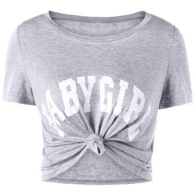 Buy GRAY XL Baby Girl Cropped T-shirt for $13.21 in GearBest store