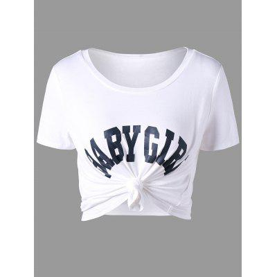 Buy WHITE L Baby Girl Cropped T-shirt for $13.21 in GearBest store