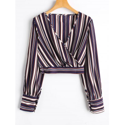 Slit Sleeve Striped Cropped Surplice Blouse