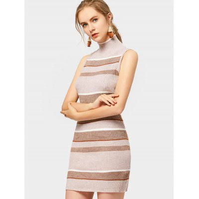 High Neck Striped Knitted Dress
