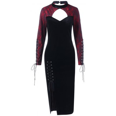 Halloween Spider Lace Inset Slit Velvet Dress
