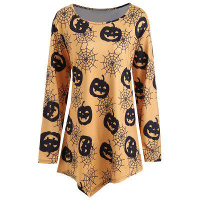 Plus Size Halloween Pumpkin Net Print Asymmetrical T-shirt