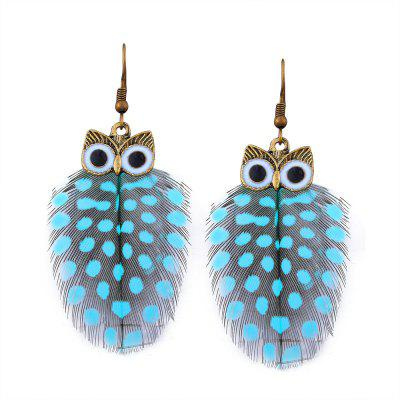 Alloy Owl Feather Fish Hook Earrings