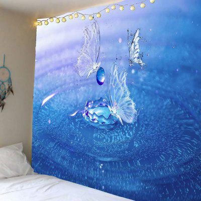 Buy BLUE Wall Hanging Water Butterfly Printed Tapestry for $13.12 in GearBest store