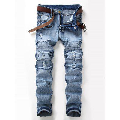 Zip Fly Check Distressed Jeans