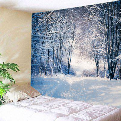 Buy WHITE Wall Hanging Decor Forest Snow Path Print Tapestry for $16.31 in GearBest store