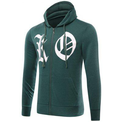 Zip Up Drawstring Graphic Hoodie