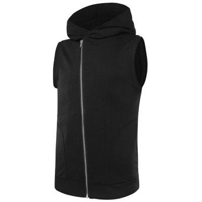 Asymmetrical Zip Up Two Tone Hooded Vest
