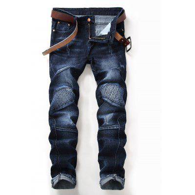 Distressed Hem Zip Fly Straight Biker Jeans