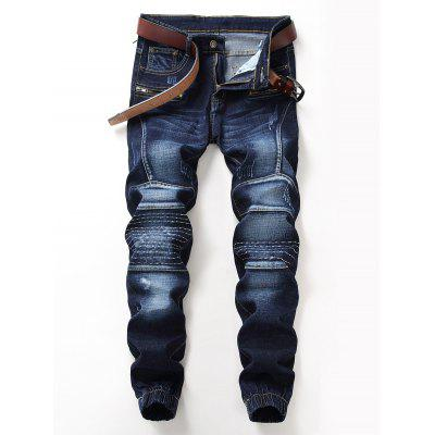 Zip Fly Stitching Design Jogger Jeans