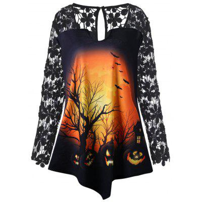 Buy BLACK 4XL Plus Size Halloween Pumpkin Lace Insert Tunic T-shirt for $23.83 in GearBest store