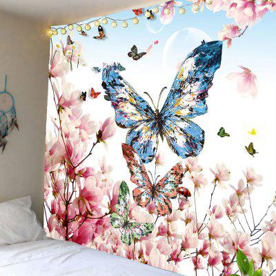 Buy COLORFUL Peach Blossom Butterfly Pattern Wall Hanging Tapestry for $12.27 in GearBest store