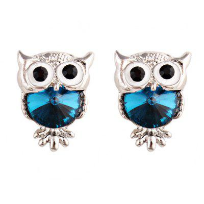 Faux Gem Owl Tiny Stud Earrings